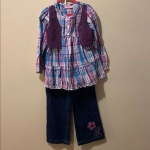 Girls size 5 outfit plaid tunic top & jeans flower